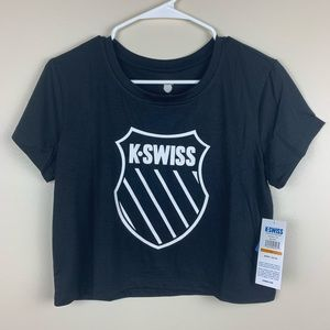 K-SWISS Achromatic Tee Crop Top Black Size Medium